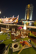 Riverside Terrace buffet at The Oriental Hotel. Sushi. Oriental ferry and Peninsula Hotel in background.