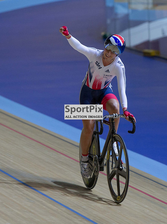 Laura Trott celebrates winning the Women's Omnium Elimination race at the Revoultion Series 2015/6 Round 1 Derby, Day 2, on 15 August 2015 ( (Photo by Mike Poole - Photopoole)
