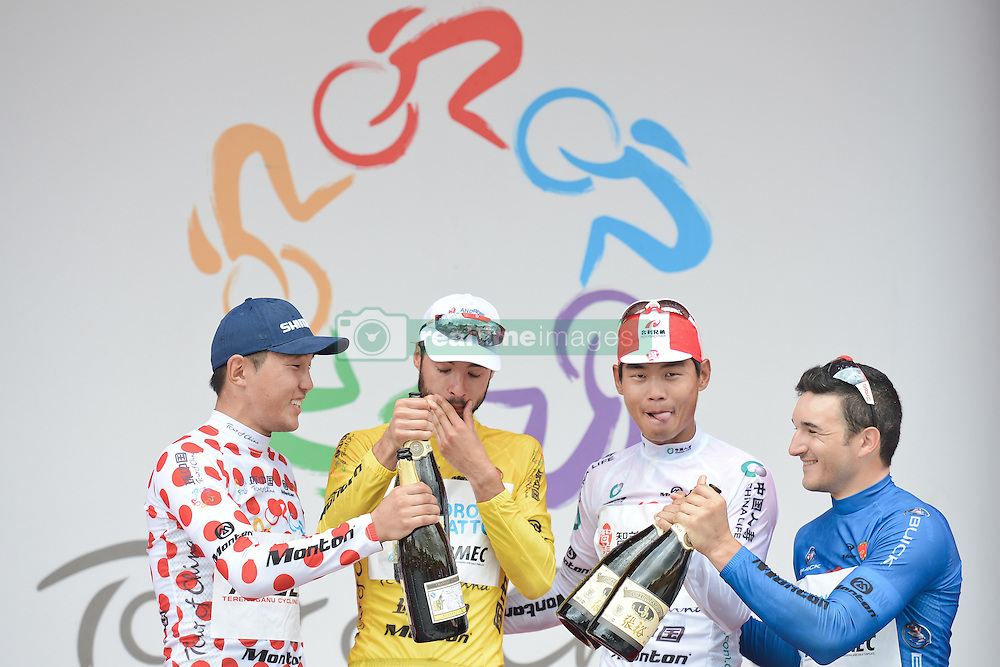 September 16, 2016 - Wuhan, China - (Left-Right) Maral-Erdene Batmunkh - Terengganu Cycling Team (Polka Dot Mountain Jersey), Mattia De Marchi - Androni Giocattoli (Yellow Leader Jersey), Meiyin Wang - Wisdom-Hengxiang Cycling team (White Best China Rider Jersey) and Marco Benfatto - Androni-Giocattoli team (Blue Best Sprinter Jersey) celebrate during the final Award Ceremony of the 2016 Tour of China 1..On Friday, 16 September 2016, in Xinzhou, Wuhan , China. (Credit Image: © Artur Widak/NurPhoto via ZUMA Press)