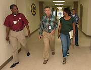 HISD staff work to prepare North Forest High School during a tour of North Forest facilities, July 1, 2013.
