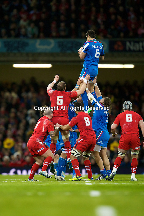 01.02.2014 Cardiff, Wales. Italy flanker Alessandro Zanni (Benetton Treviso) during the Six Nations game between Wales and Italy from the Millennium Stadium.