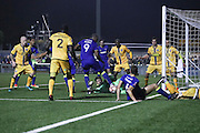 Close to a late winner during The FA Cup match between Sutton United and AFC Wimbledon at Gander Green Lane, Sutton, United Kingdom on 7 January 2017. Photo by Stuart Butcher.