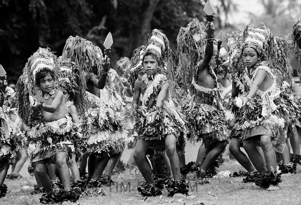 Native children at tribal gathering in Western Samoa, South Pacific