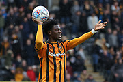 Hull City defender Ola Aina (34)  during the EFL Sky Bet Championship match between Hull City and Cardiff City at the KCOM Stadium, Kingston upon Hull, England on 28 April 2018. Picture by Mick Atkins.
