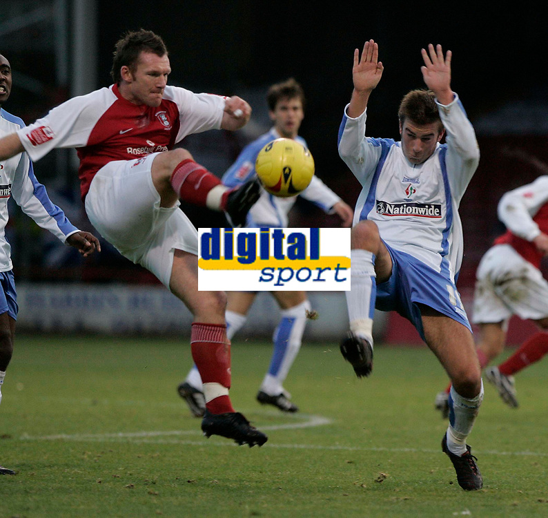 Photo: Dave Howarth.<br />Rotherham United v Swindon Town. Coca Cola League 1.<br />03/12/2005.  <br />Swindon's Michael Pook (L) and Rotherham's Ryan Taylor