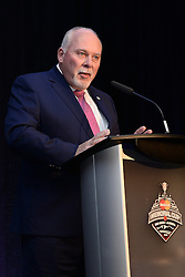 David Branch, President of the CHL and OHL Commissioner addresses the audience at the 2015-16 CHL Awards Dinner held on Saturday May 28, 2016 at the Sheridan Red Deer Hotel. Photo by Terry Wilson / CHL Images.