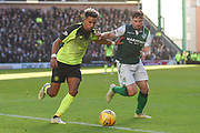 Scott Sinclair and Lewis Stevenson fight for the ball during the Ladbrokes Scottish Premiership match between Hibernian and Celtic at Easter Road, Edinburgh, Scotland on 16 December 2018.