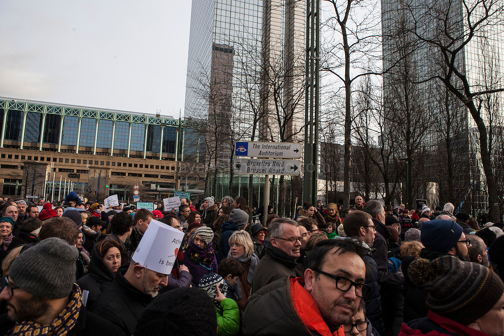 Brussels, Belgium. 11th Jan, 2015. 20,000 people attend #JeSuisCharlie March in Brussels, bringing together different cultures and religions following the attack on the Charlie Hebdo satirical magazines offices in Paris and the subsequent hostage taking at a Jewish shop. Brussels, a multicultural city, and Europe's comics capital, has suffered its one sectarian attacks in current times, when four people were shot and killed at the city's Jewish museum in May 2014.