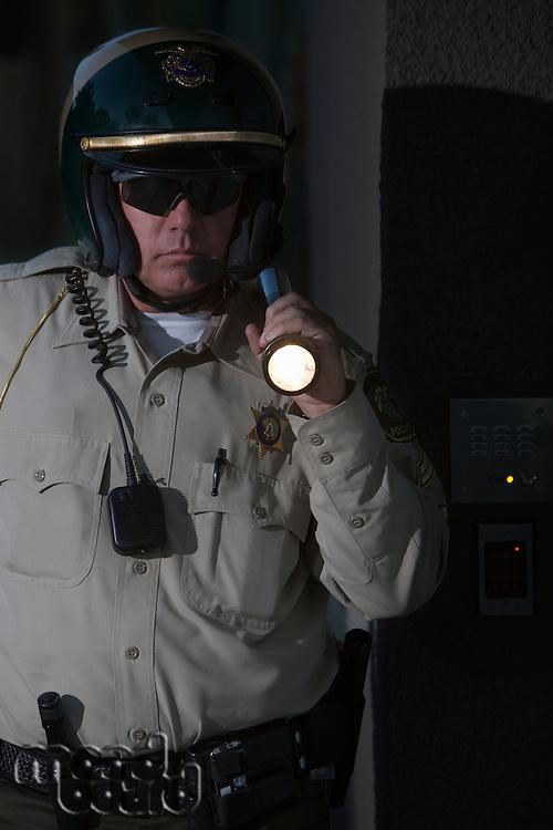 Nightwatch patrolman with flashlight