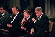 President Bill Clinton is losing the battle for sleep, showing the fatigue of conducting the war against Serbia. President Clinton and other NATO leaders gathered in Washington, DC at the opening ceremonies of the summit marking the 50th anniversary of the Atlantic alliance. Second from left is President Jacques Chirac of France and next to him is President Vaclav Havel of the Czech Republic. April 23, 1999. (Photo by Roger M. Richards)