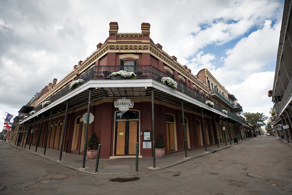 Muriels,  now closed, a popular bistro in New Orleans French Quarter on March 27, 2020  during a mandatory stay at home order due to the COVID-19 Pandemic. New Orleans , major city, USA