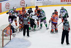 Roughing afte Tomi Mustonen (HDD Tilia Olimpija, #21) crashes Michal Fikrt (HK Acroni Jesenice, #37) during ice-hockey match between HK Acroni Jesenice and HDD Tilia Olimpija in 50th Round of EBEL league, on Februar 15, 2011 at Dvorana Podmezaklja, Jesenice, Slovenia. (Photo By Matic Klansek Velej / Sportida.com)