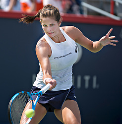 MONTREAL, Aug. 7, 2018  Julia Goerges of Germany hits a return during the first round of women's singles match against Timea Babos of Hungary at the 2018 Rogers Cup in Montreal, Canada, Aug. 6, 2018. Julia Goerges won 2-1. (Credit Image: © Andrew Soong/Xinhua via ZUMA Wire)