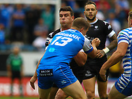 Darcy Lussick of  Toronto Wolfpack on the attack against Halifax RLFC during the Betfred Super 8s Qualifiers match at Shay Stadium, Halifax<br /> Picture by Stephen Gaunt/Focus Images Ltd +447904 833202<br /> 12/08/2018