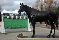 National Hunt Horse Racing - 2020 Cheltenham Festival - Tuesday, Day One (Champion Day)<br /> <br /> Extra sanitizing station next to the Horse statue of Best Mate  at Cheltenham Racecourse.<br /> <br /> COLORSPORT/ANDREW COWIE