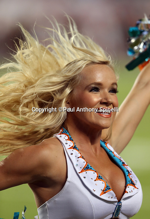 A Miami Dolphins cheerleader cheers during the NFL week 9 football game against the Cincinnati Bengals on Thursday, Oct. 31, 2013 in Miami Gardens, Fla.. The Dolphins won the game 22-20 in overtime. ©Paul Anthony Spinelli
