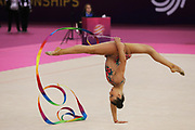 Katrin Taseva, Bulgaria, during the 33rd European Rhythmic Gymnastics Championships at Papp Laszlo Budapest Sports Arena, Budapest, Hungary on 20 May 2017. Bulgarian won the team bronze medal. Photo by Myriam Cawston.