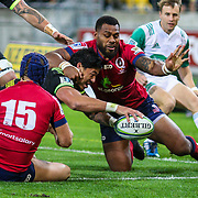 Ben Lam  scores during the Super rugby union game (Round 14) played between Hurricanes v Reds, on 18 May 2018, at Westpac Stadium, Wellington, New  Zealand.    Hurricanes won 38-34.