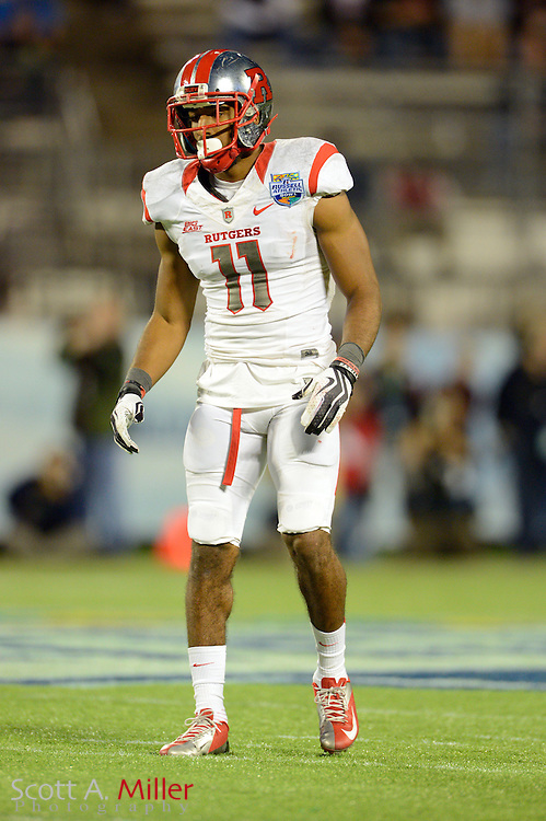 Rutgers Scarlet Knights defensive back Logan Ryan (11) during Rutgers 13-10 overtime loss to the Virginia Tech Hokies in the Russell Athletic Bowl on Dec 28, 2012 in Orlando, Florida. ..©2012 Scott A. Miller..