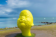 Sculpture Give Me a Kiss by artist Qian Sihua at Sculpture by the Sea exhibition on the beach at Aarhus, Denmark