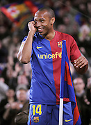 Thierry Henry (Barcelona)  celebrates after his goal in 6-0 win. Barcelona v Malaga (6-0) La Liga 22/03/09.<br /> <br /> UK ONLY