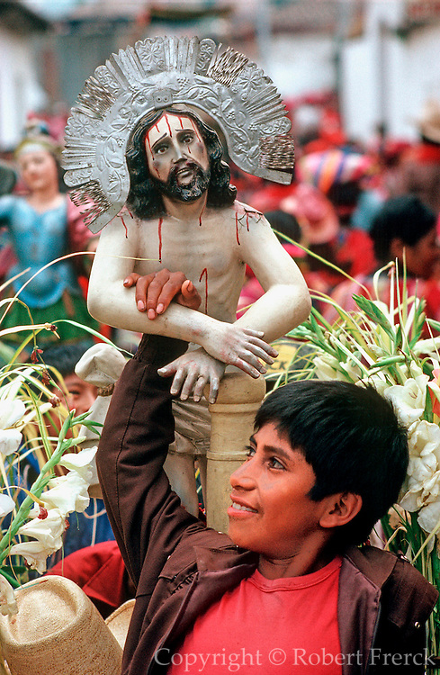 GUATEMALA, FESTIVALS Semana Santa (Easter Week) religious procession in Maya Indian village of Zunil