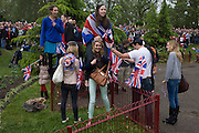 The great British public brave bad weather to celebrate the Queen's Diamond Jubilee flotilla on the river Thames. 1,000 boats made their way past Battersea Park, London including their reigning monarch of 60 years and other members of the royal family during a weekend of official festivities and street parties.