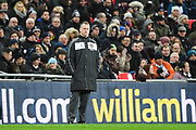 Newport County Manager Michael Flynn during the The FA Cup 4th round replay match between Tottenham Hotspur and Newport County at Wembley Stadium, London, England on 7 February 2018. Picture by Stephen Wright.