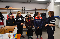 Ball technicians getting a pre-match tour of the Bristol Bears Women changing room at Shaftesbury Park - Mandatory by-line: Paul Knight/JMP - 01/12/2018 - RUGBY - Shaftesbury Park - Bristol, England - Bristol Bears Women v Harlequins Ladies - Tyrrells Premier 15s