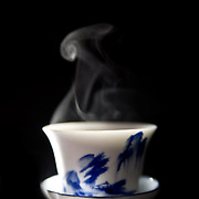 steaming tea in a gaiwan.