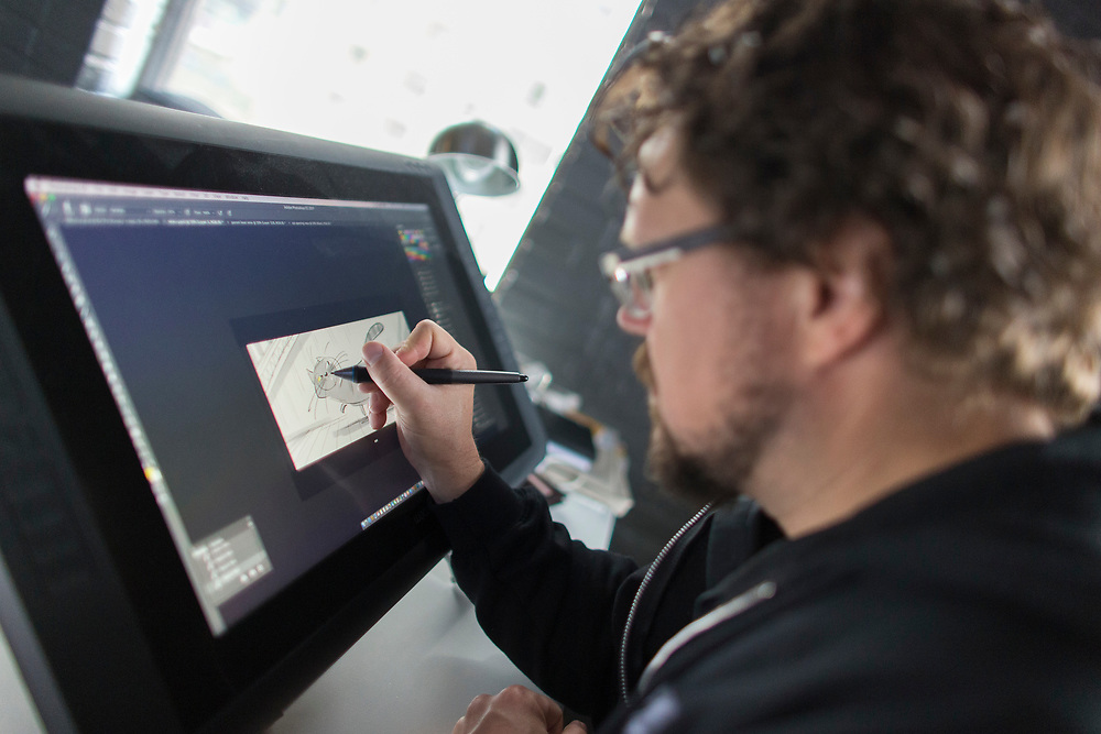 Animator Kris Pearn works on a new sketch in his office at Bron Studio in London Ontario, Wednesday,  September 6, 2017.<br /> Business London/ Geoff Robins