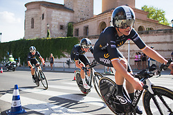 Wiggle High5 Cycling Team riders approach the finishing straight on Stage 1 of the Madrid Challenge - a 12.6 km team time trial, starting and finishing in Boadille del Monte on September 15, 2018, in Madrid, Spain. (Photo by Balint Hamvas/Velofocus.com)