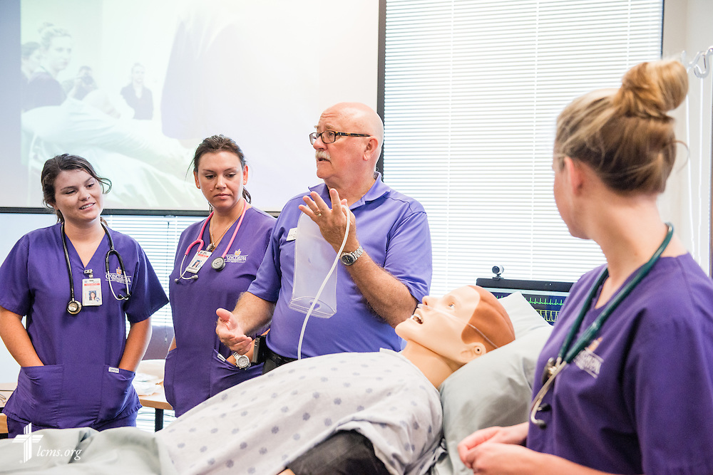 Ron Hilliard, assistant professor and Division Chair - Junior Year, in the School of Nursing, leads a nursing orientation session at Concordia University Texas on Wednesday, July 16, 2014, in Austin, Texas. LCMS Communications/Erik M. Lunsford