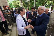 "Venice, Italy - 15th Architecture Biennale 2016, ""Reporting from the Front"".<br /> Giardini.<br /> German Pavilion. MAKING HEIMAT. Germany, Arrival Country. Opening with German Minister of Construction, Mrs. Barbara Hendricks (white jacket), here greeting Biennale President Paolo Baratta."