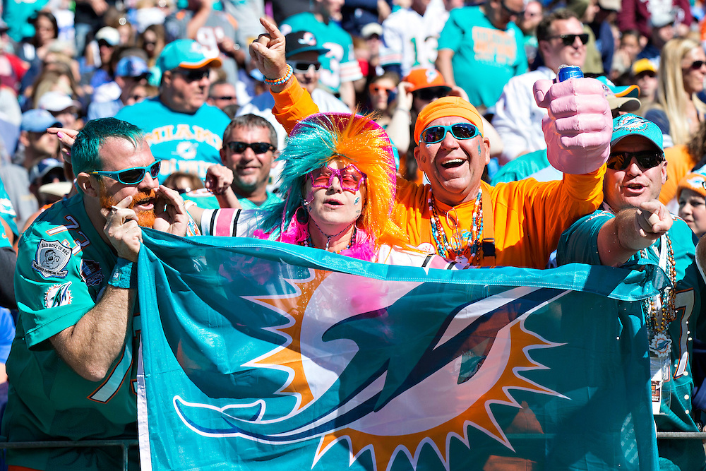 NASHVILLE, TN - OCTOBER 18:  Fans of the Miami Dolphins celebrate during a game against the Tennessee Titans at LP Field on October 18, 2015 in Nashville, Tennessee.  The Dolphins defeated the Titans 38-10.  (Photo by Wesley Hitt/Getty Images) *** Local Caption ***