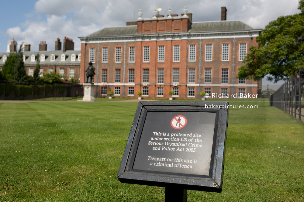 The exterior of Kensington Palace in Kensington Park, protected by section 128 of the Serious Organised Crime and Police Act 2005, on 20th August 2019, in London, England. Kensington Palace is a royal residence set in Kensington Gardens, in the Royal Borough of Kensington and Chelsea in London, England. It has been a residence of the British Royal Family since the 17th century, and is currently the official London residence of the Duke and Duchess of Cambridge, Princess Eugenie and her husband Jack Brooksbank, the Duke and Duchess of Gloucester, the Duke and Duchess of Kent, and Prince and Princess Michael of Kent.