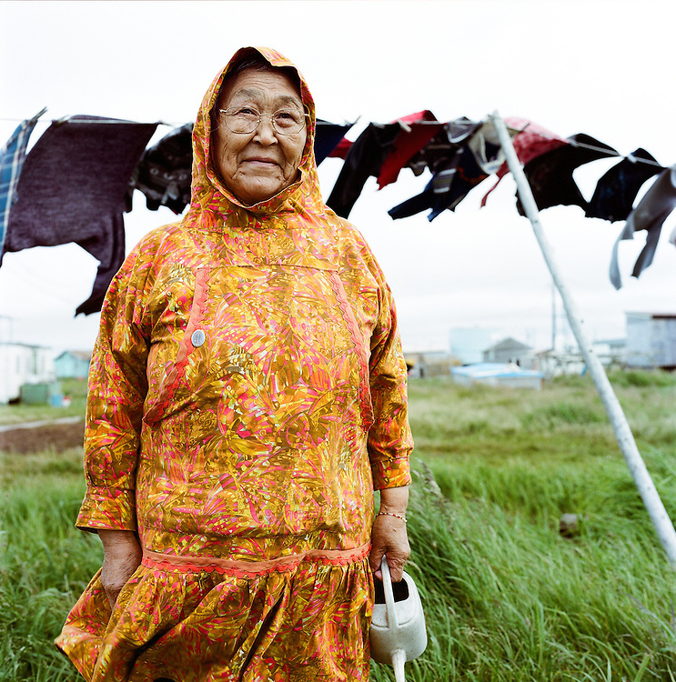 Lucy tending to her laundry in Newtok, Alaska. 2008