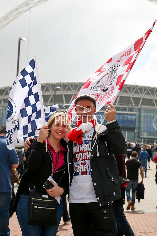 during the Sky Bet League 1 play off final match between Barnsley and Millwall at Wembley Stadium, London, England on 29 May 2016. Photo by Simon Davies.