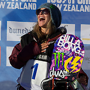 Jamie Anderson, USA, winner of the Snowboard Slopestyle Ladies competition at Snow Park, New Zealand during the Winter Games. Wanaka, New Zealand, 21st August 2011. Photo Tim Clayton