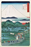 Mount Fuji seen from Hara Province in Suruga', 1860. Landscape with Mount Fuji,  Japan's highest peak dominating the background , forest and lakes, centre.  A procession makes its way along the road from the mountain. Coloured woodblock print. Hiroshige II (1829-1869)  Japanese artist and printmaker.