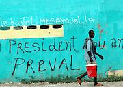 Port-au-Prince, Haiti.<br />Voter graffitti in the slum of Cite Soleil, an often violent pr-Aristide slum. Haiti, the western hemisphere's poorest country, faces another election. Difficulties in preparing the election has delayed the election date. A multinational UN peacekeeping force is present to try to maintain stability in the political vacuum caused by the ouster of former president Aristide.