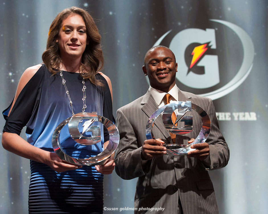 Johnathan Gray, right, and Breanna Stewart hold their trophies after being named the nation's top prep male and female athletes during the tenth annual Gatorade High School Athlete of the Year awards, in Los Angeles. Gatorade National Football Player of the Year, Gray, from Aledo High School, Aledo, Texas, was named the Gatorade Male High School Athlete of the Year and Gatorade National Girls Basketball Player of the Year, Stewart, from Cicero-North Syracuse High School, Cicero, N.Y., received the Gatorade Female High School Athlete of the Year. Photo/Gatorade, Susan Goldman.