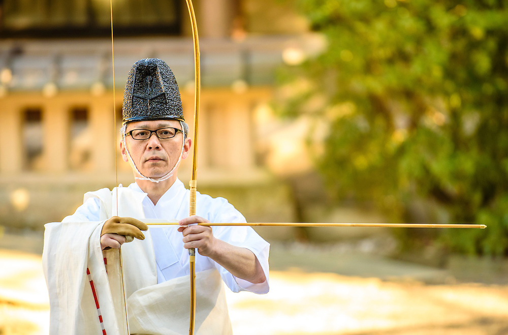 JANUARY 15, 2016 -  during the Hosha Shinji ritual at Atsuta Shrine in Nagoya, Japan. Hosha Shinji is a Shinto archery ritual meant to bring about a good crop and fortune. (Photo by Ben Weller/AFLO) (JAPAN) [UHU]