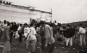 The stage at the first outdoor rave up North, The Gio Goi Joy Rave run by Anthony and Chris Donnelly, Ashworth Valley, Rochdale, 5th August 1989.