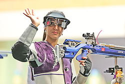 05.09.2015, Olympia Schiessanlage Hochbrueck, Muenchen, GER, ISSF World Cup 2015, Gewehr, Pistole, Damen, 10 Meter Luftgewehr, im Bild Ivana Maksimovic (SRB) lachend, winkend // during the women's 10M air rifle competition of the 2015 ISSF World Cup at the Olympia Schiessanlage Hochbrueck in Muenchen, Germany on 2015/09/05. EXPA Pictures © 2015, PhotoCredit: EXPA/ Eibner-Pressefoto/ Wuest<br /> <br /> *****ATTENTION - OUT of GER*****