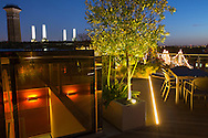 Uplit olive tree in container, table and chairs on roof terrace, strip lighting, view to Battersea Power Station