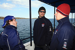 Rok Pajic, Marcel Rodman and Ales Music at whale watching boat when some guys  were celebrating an anniversary of playing for Slovenian National Team for 100 (120) times, during IIHF WC 2008 in Halifax,  on May 07, 2008, sea at Halifax, Nova Scotia,Canada.(Photo by Vid Ponikvar / Sportal Images)