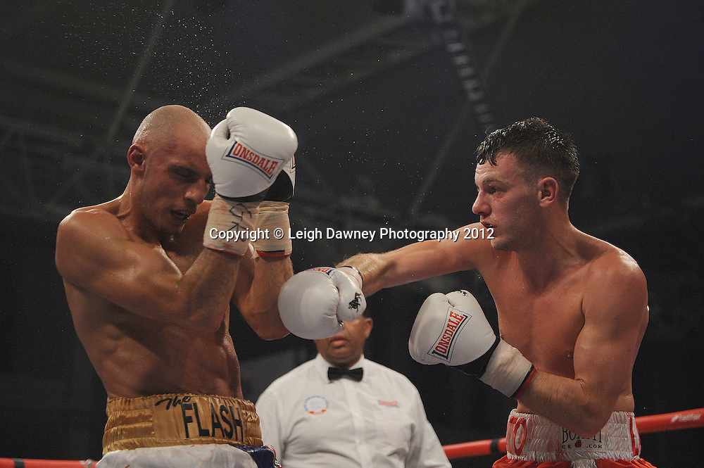 Danny Connor defeats Chris Evangelou in a 10 x 3  bout contest to claim the Vacant Southern Area Light Welterweight Championship at Alexandra Palace, Muswell Hill, North London on Saturday 8th September 2012. Matchroom Sport. Pictures © Leigh Dawney Photography 2012.