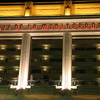 Europe, France, Nice. Palais De La Mediterranee facade by night