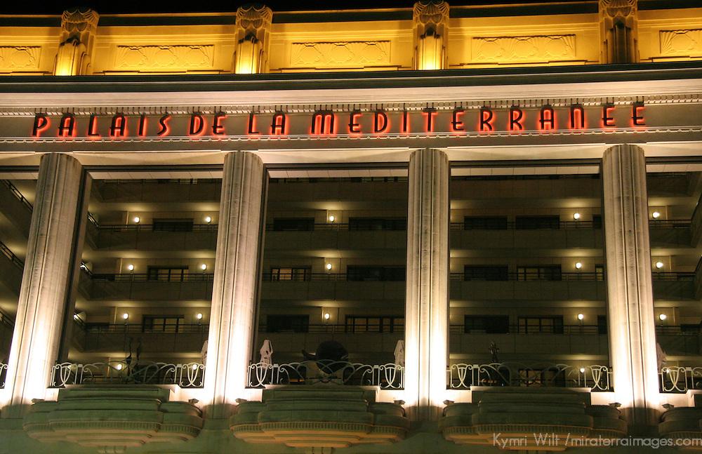 Europe, France, Nice. Palais De La Mediterranee facade by night